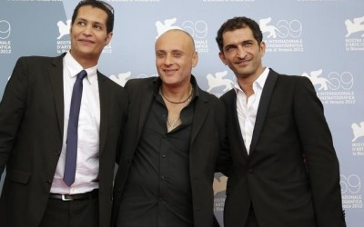 """Egyptian director El Batout poses with actors Al Hanafy and Waked during the photocall of the movie """"El sheita elli fat (Winter of discontent)"""" at the 69th Venice Film Festival in Venice"""